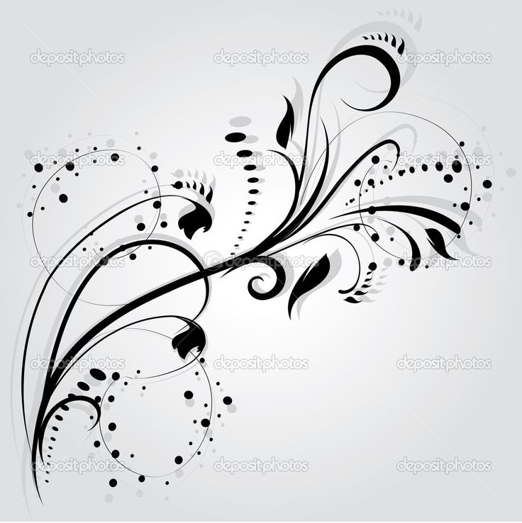 Swirly Tattoo Designs | Floral silhouette, element for design, vector tattoo | Stock Vector ...