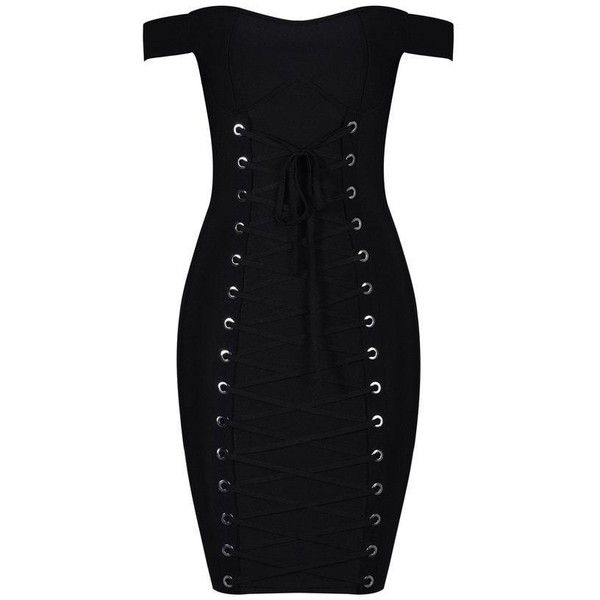 Honey couture nayla black tie up off shoulder mini bandage dress ($169) ❤ liked on Polyvore featuring dresses, holiday cocktail dresses, sexy mini dress, evening dresses, evening party dresses and cocktail party dress