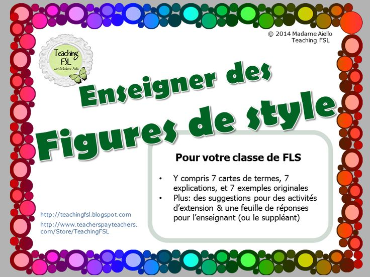 "$ French Literary Devices teaching product - attractive but legible letter-sized posters, and matching activity for 7 common "" Figures de style "" (la comparaison, le métaphore, l'allitération, l'onomatopée, l'oxymore, l'hyperbole et la personnification) by Teaching FSL"