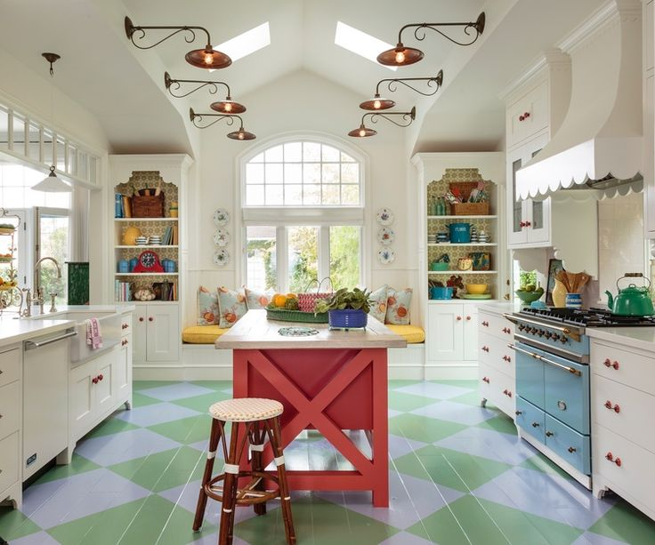 Mark Lohman - bright cottage kitchen, anyone - love the window seat in the end