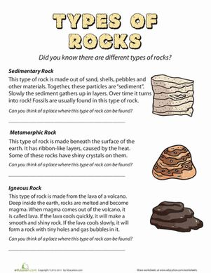 Second Grade Earth & Space Science Worksheets: Types of Rocks