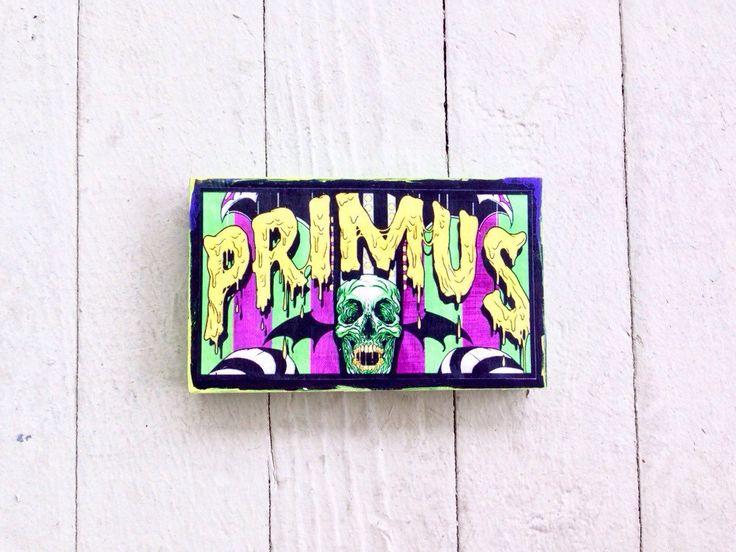 Primus - primus band - primus music - les claypool - wood art block - poster on wood - handmade - music decor - table decor