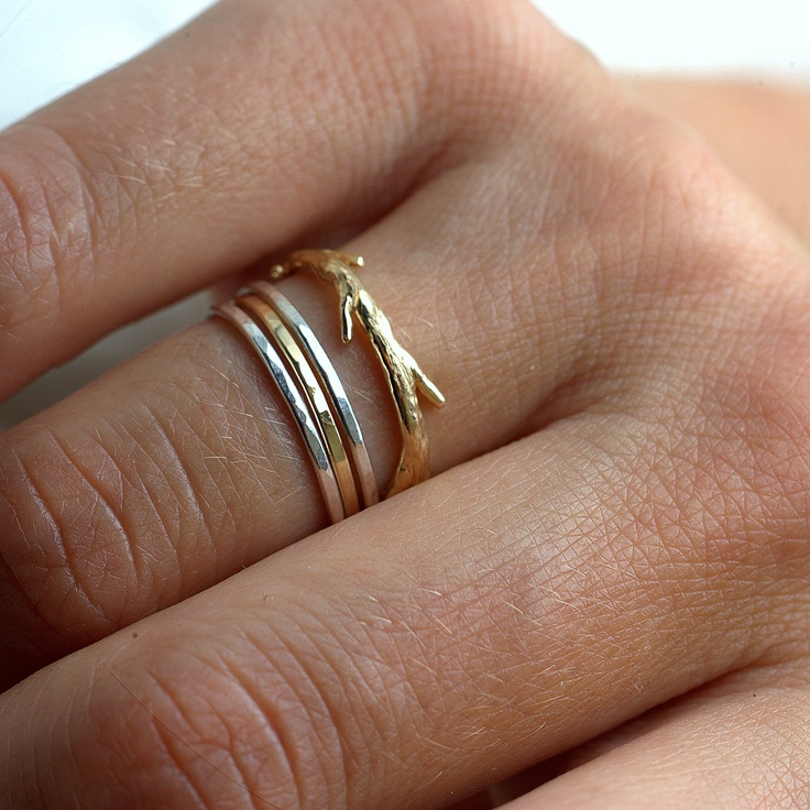 { Simple twig set, 14k Gold and silver. $342.00, via Etsy. }