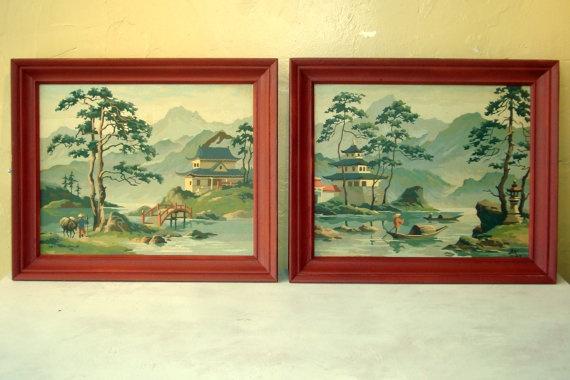 Pair of Vintage Asian paint by number paintings in by VintageFlip, $50.00