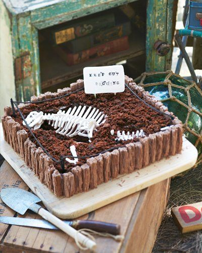 Dinosaur Cake Idea #7: Dinosaur Excavation Cake  ~ http://www.dinopit.com