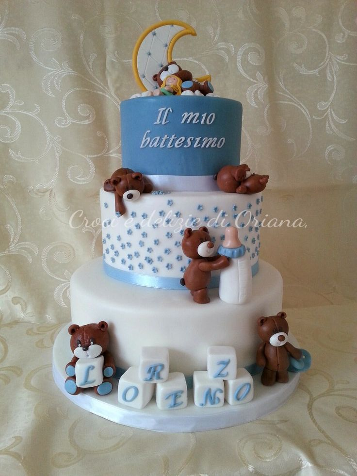 Torta battesimo con orsi bis | http://blog.giallozafferano.it/crociedeliziedioriana/2014/11/torta-battesimo-con-orsi-bis.html