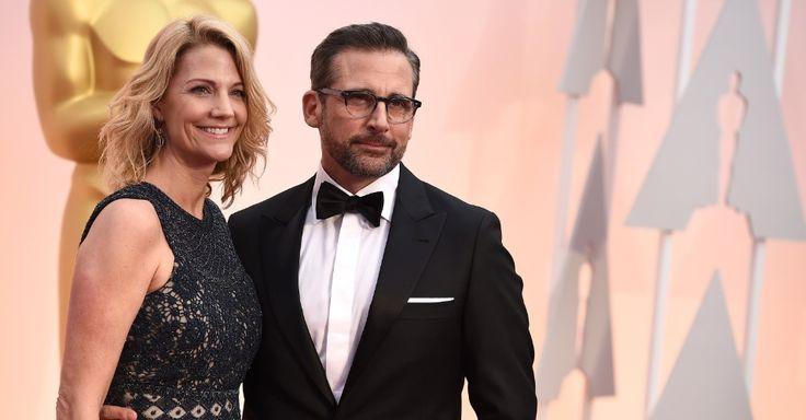 """Steve Carell, indicado ao prêmio de melhor ator por """"Foxcatcher: Uma História que Chocou o Mundo"""", com sua mulher Nancy Carell no Oscar 2015"""