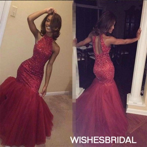 Halter Tulle Sweep Train Sequin Keyhole Open Back Trumpet Mermaid Red... ($177) ❤ liked on Polyvore featuring dresses, halter top, halter prom dresses, tulle prom dresses, halter neck prom dress and purple sequin dress