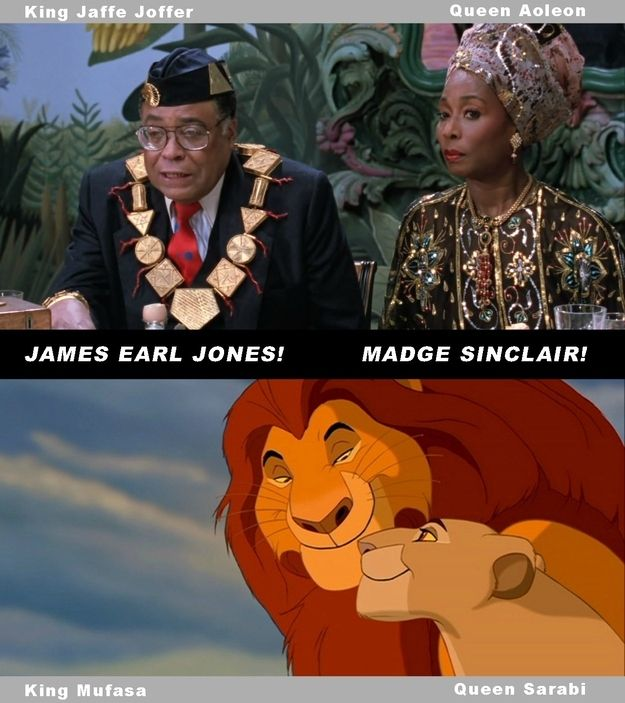 James Earl Jones (Mufasa) and Madge Sinclair (Sarabi) were also the king and queen in Coming to America .