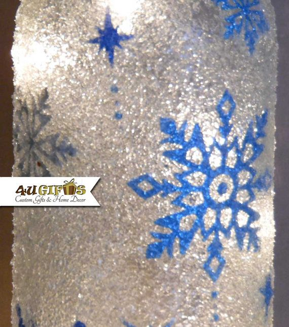 Lighted Wine Bottle Snowflakes. Christmas Decoration