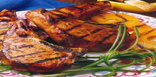 Grilled Country Pork Chops With Bourbon-Basted Grilled Peaches Recipe ...