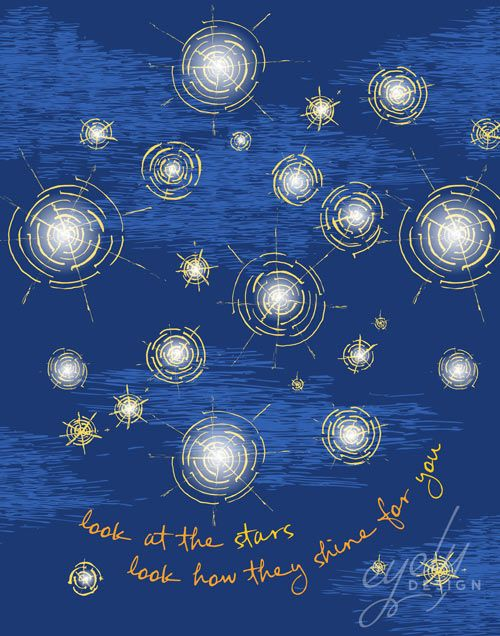 """Creative DIY baby shower gift idea. Downloadable and printable poster inspired by the Starry Starry Night painting by Vincent Van Gogh.  The poster reads """"look at the stars look how they shine for you"""" and is perfect for a baby who's nursery is themed stars, night sky, starry starry night or anything lunar!  This poster is blue with yellow, gold, white, and light blue accents. Click """"Buy Now"""" to download the 11×14 high resolution non-watermarked PDF that is ready for printing! Only $2.00."""