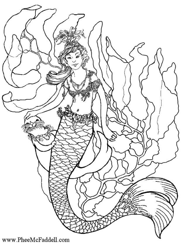 printable coloring pages for adults mermaids - Fantasy Coloring Pages Adults