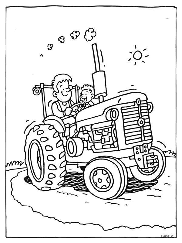 kleurplaat tractor kleurplaten boerderij thema breien