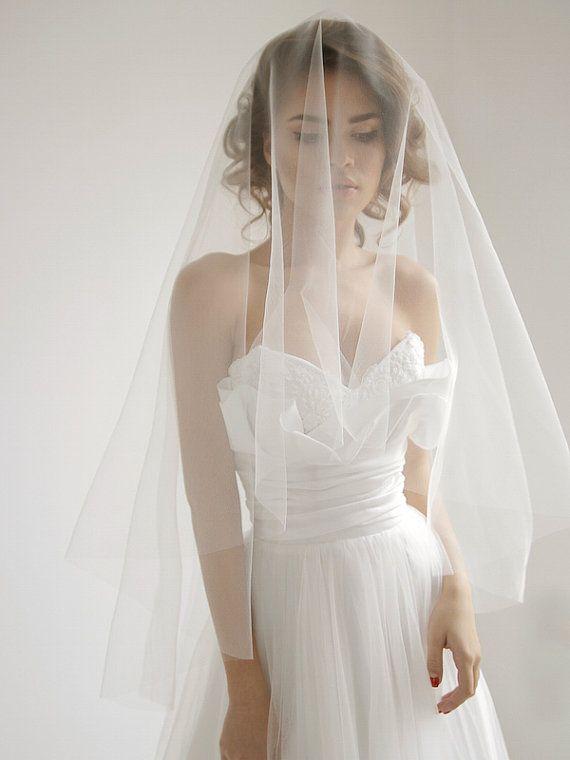 Circle fingertip wedding veil with blusher, ivory wedding veil, blusher veil…