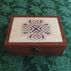 Celtic Keepsake/Jewellery Box - Love Knot: Purple & Brown.  The knots, plait-work or weaving are a stunning feature of Celtic spiritual artwork. The weaving patterns represent the tribal migrations, spiritual devotion and travels through life.  Love others, be in love and create a happy life together. Weave a life of love! Made in Australia by Highland crafts. $44.00au  Size: 28 x 19cm and 10cm deep   Handmade and painted craft-wood box, made in Australia by Highland Handcrafts. .