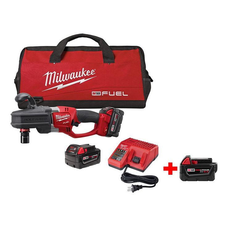 Milwaukee M18 Fuel 18-Volt Lithium-Ion Brushless 1/2 in. Hole Hawg Right Angle Drill Kit (Quick-Lok) w/ Free M18 5.0Ah XC Battery