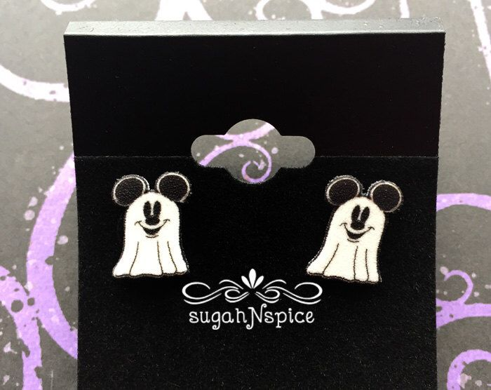 Mickey Mouse Earrings - Mickey Mouse Ghost Earrings - Halloween Earrings - Mickey Ghost Earrings - Halloween Ghost - Costume Earrings by sugahNspice on Etsy https://www.etsy.com/listing/250057074/mickey-mouse-earrings-mickey-mouse-ghost