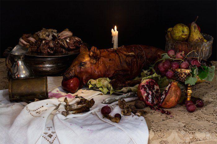 Диеты знаменитостей в виде натюрмортов. Король Генри VII: свинина, курица, кролик, баранина, фрукты и вино.
