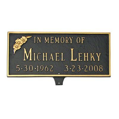 Montague Metal Products Memorial Plaque with Flower Sign Finish: Hunter Green / Gold, Mounting: Lawn