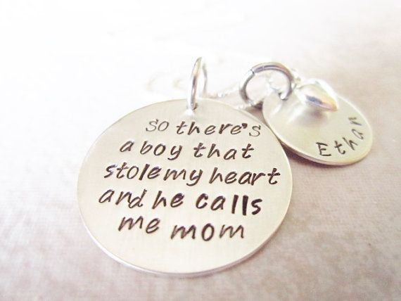 mommy jewelry, mother necklace, mother son necklace, hand stamped jewelry