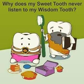 Sweet tooth vs. wisdom tooth! www.info@hydeparkdentistry.ca