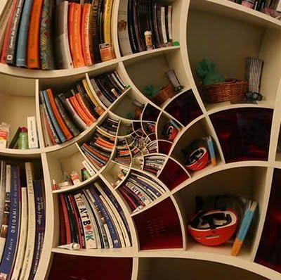 spiraling bookshelf