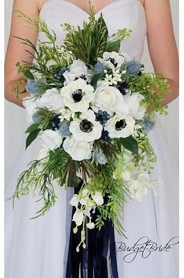 Navy blue anemone and thistle cascading wedding flower brides bouquet with orchids, calla lilies, peonies, hydrangea, eucalyptus, lambs ear and greenery silk artificial flowers
