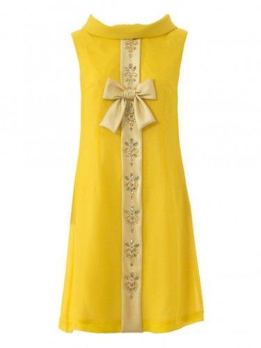 Vestido amarillo estilo años 60. Patrón revista Burda Vintage Noviembre 2015