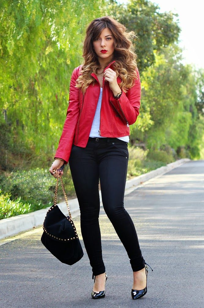 Red leather with wax coated jeans. Styled with BCBG pumps ...