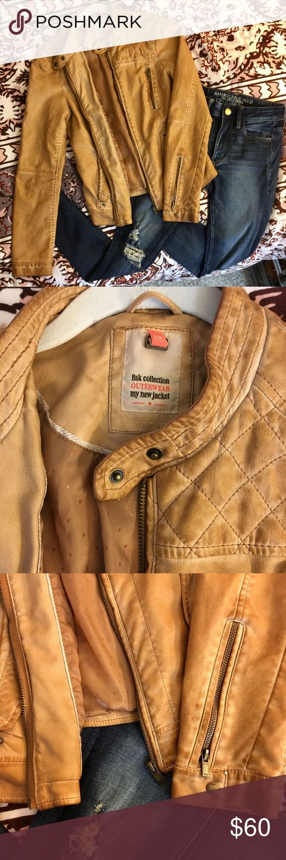 Chestnut leather jacket Gently worn, super stylish Bershka jacket 痢   So cute with a skirt or jeans, great in fall or winter weather Bershka Jackets & Coats