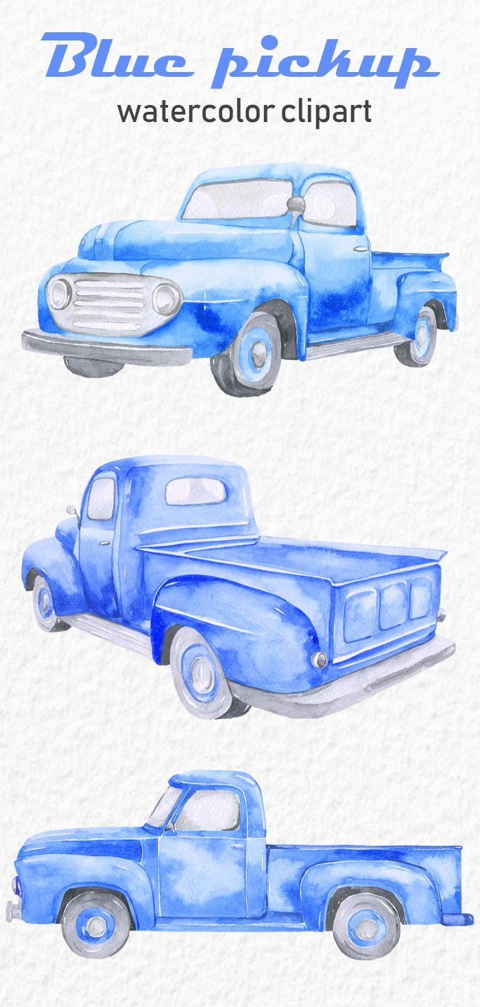 Watercolor Old Blue Pickup Clipart Side View Front Back Digital Download Transparent Background Png Clip Art Create Christmas Cards Watercolor