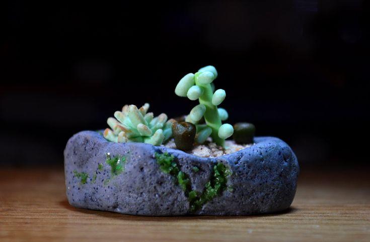 succulents polymer clay tutorial miniature mossy rock garden. Amazing work & creativity, WOW.