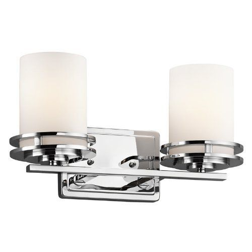 """Hendrik 2 Light Bath Vanity by Kichler. $140.40. 5077CH Features: -Bath vanity.-Number of lights: 2.-Theme: soft contemporary / casual lifestyle.-Socket type: MED.-UL Listed: CULD.-Bulb type: A19. Color/Finish: -Chrome finish. Dimensions: -Overall dimensions: 7.75"""" H x 14.5"""" W. Collection: -Hendrik collection."""
