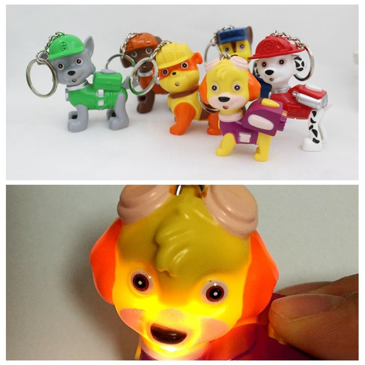 LED Flashlight keychain with auf sound,Patrol dogs keychring,popular Key chain accessories