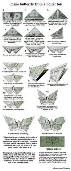 Butterfly Money Origami Insect Animal Dollar Bill …