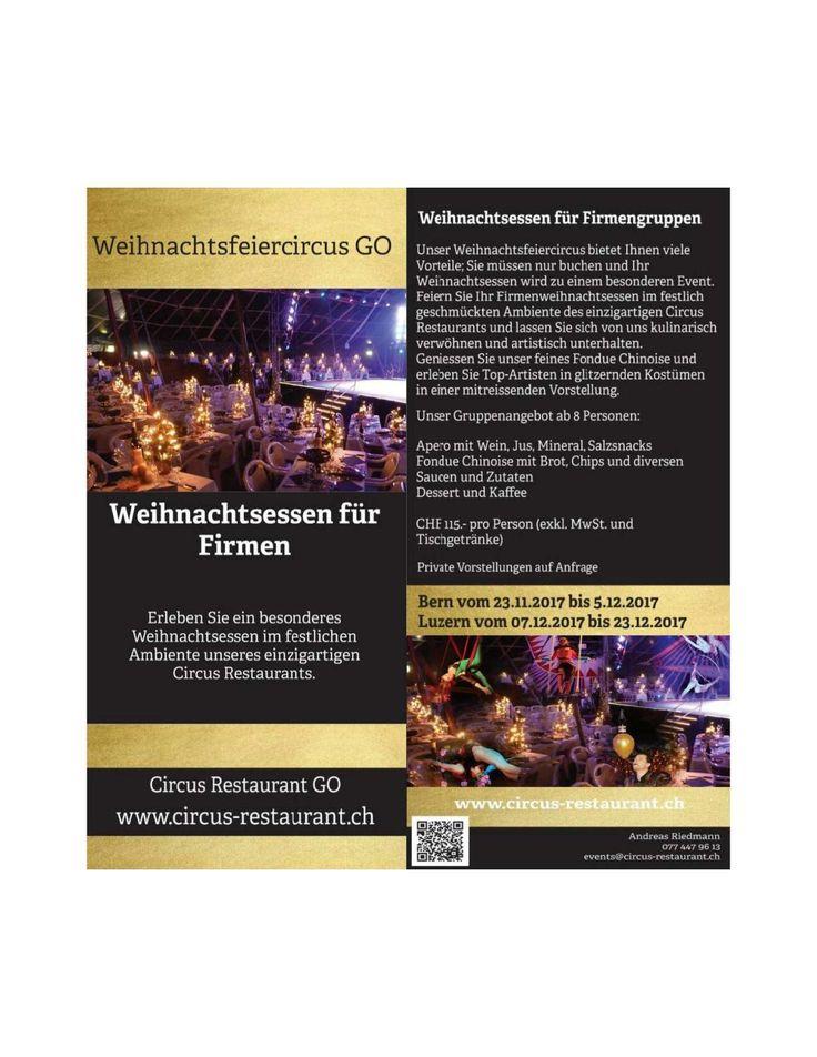 Flyer Weihnachtsessen Bern Luzern 2017