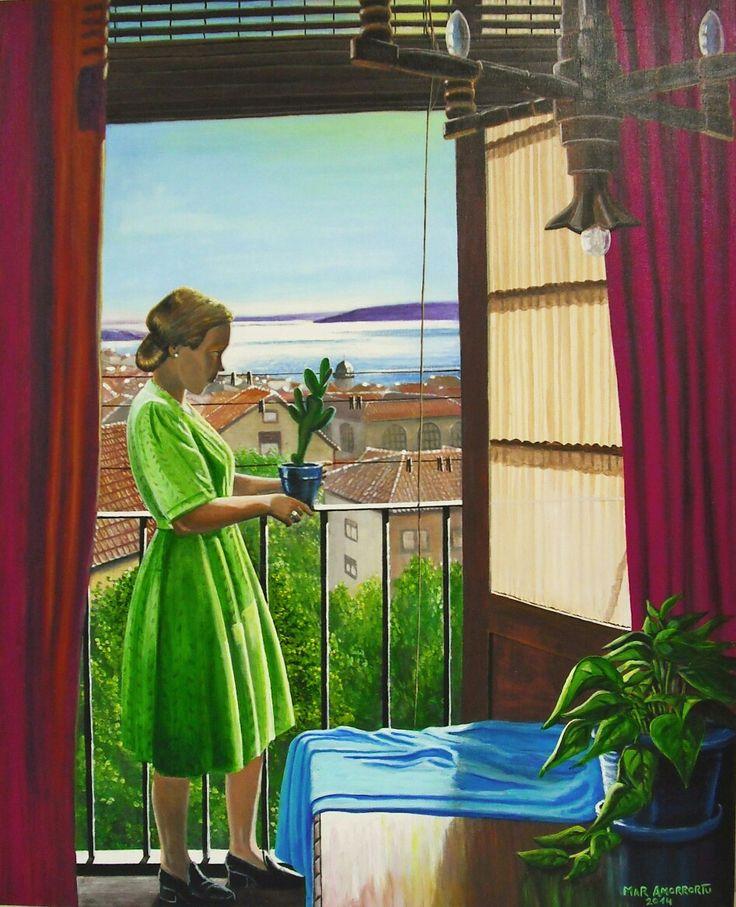 El balcón de la Atalaya. Mar Amorrortu 2014. Acrílico sobre lienzo.