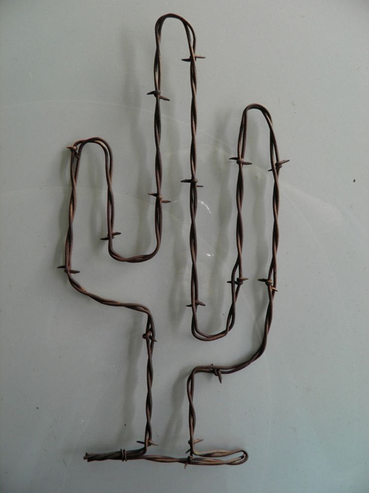 "Rusty Barbed Wire Cactus Art~ 11"" Tall ~  Cowboy Rustic South Western Wall Decor"