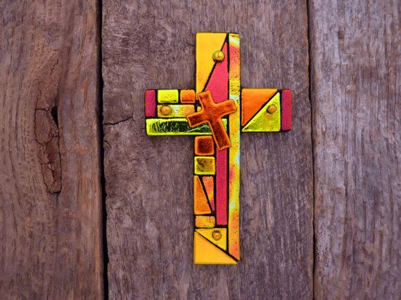 Mosaic Style Dichroic Glass Cross Hangs on the by PureLightStudio, $59.00