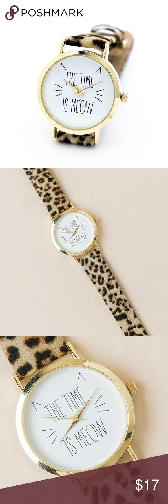 The Time is Meow Warch Perfect for the cat lover! Leopard print band, cute cat face details, stainless steel back. Made in Japan. Francesca's Jewelry