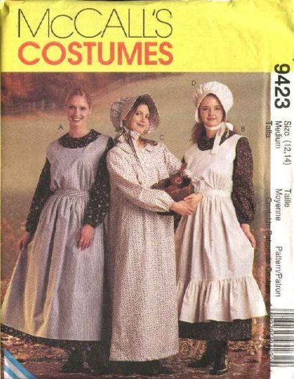 McCall's Sewing Pattern 9423 M9423 Misses Size 12-14 Pioneer Costumes Dress Apron Pinafore Bonnet   McCall's+Sewing+Pattern+9423+M9423+Misses+Size+12-14++Pioneer+Costumes+Dress+Apron+Pinafore+Bonnet