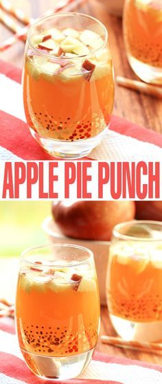 This Non Alcoholic Apple Pie Punch is the perfect virgin cocktail drink for fall and thanksgiving! Strain the apples and it is a kid-friendly punch too!