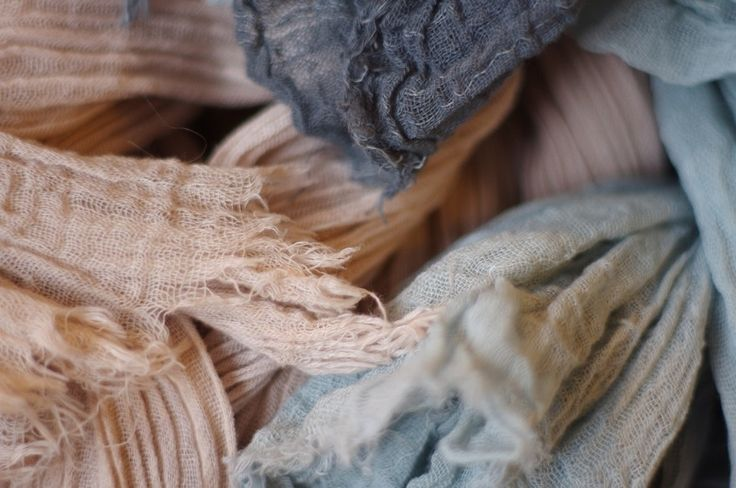 Hand dyed cotton Gaze scarves