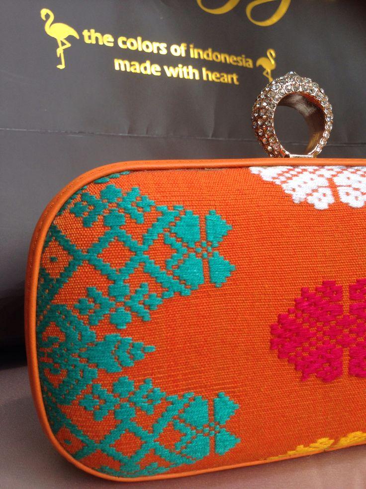 Orange Balinese handwoven clutch