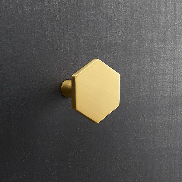 if i can't have hexagon tile -these on a vintage wood dresser converted to a vanity? YES!  hex brushed brass drawer pull  | CB2