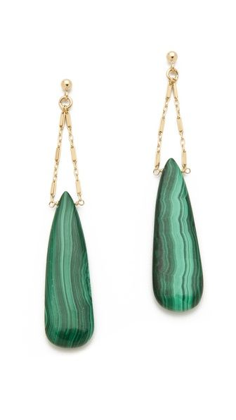Malachite teardrops dangle from delicate chains on these Heather Hawkins earrings. Post closure.    14k gold fill.  Made in the USA.  NOTE: These earrings are made from natural stones. Shading, size, and shape may vary.    MEASUREMENTS  Length: 3in / 7.5cm