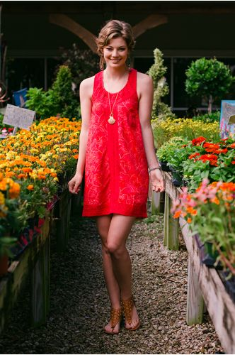 Cape Cod Red Batik Dress   Knee length Batik dress   Indonesia   shopgofish.com