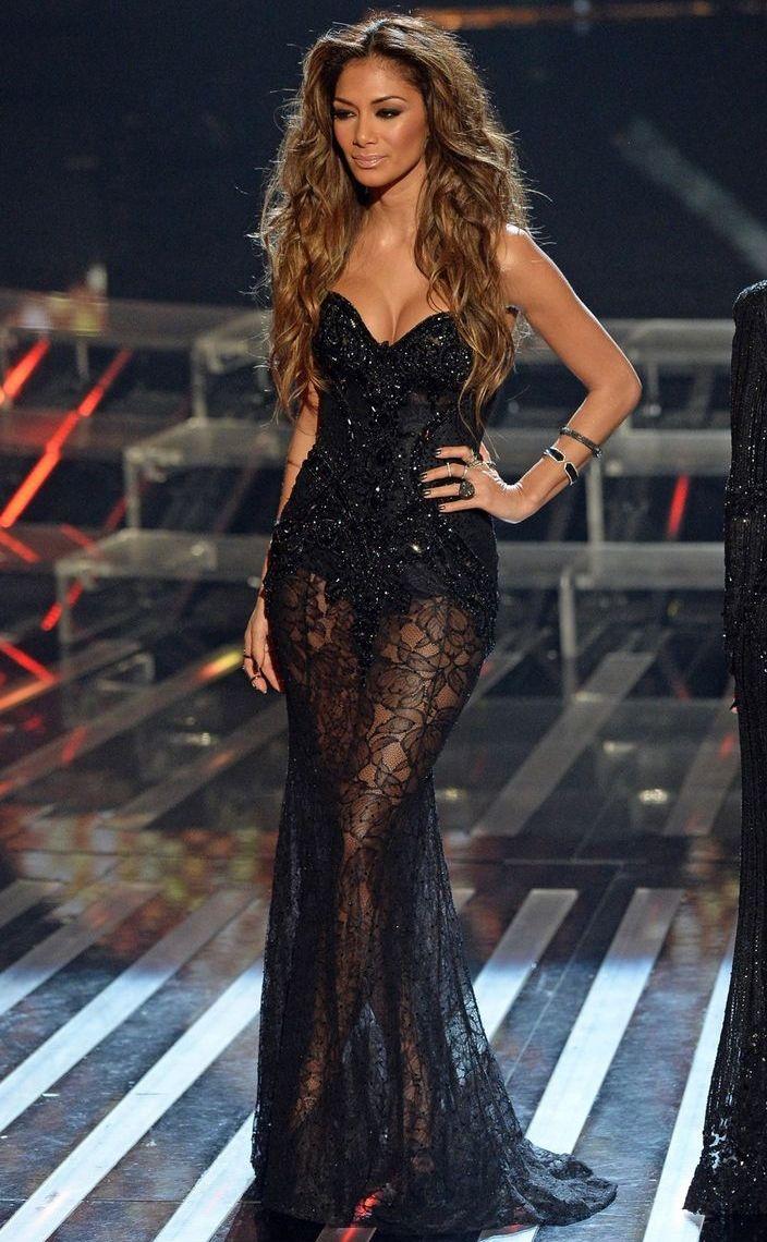 Nicole Scherzinger wearing Stephen Webster Crystal Haze Cuff Michael Cinco Fall Winter 2013 Strapless Dress