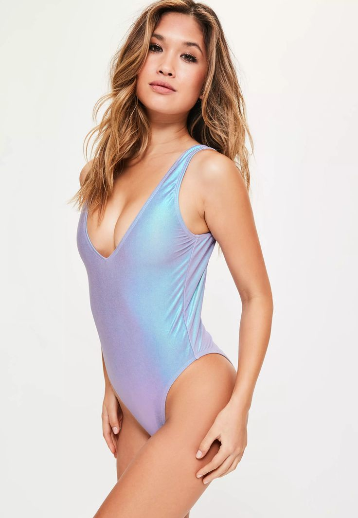 Channel your inner mermaid power with this purple metallic swimsuit.
